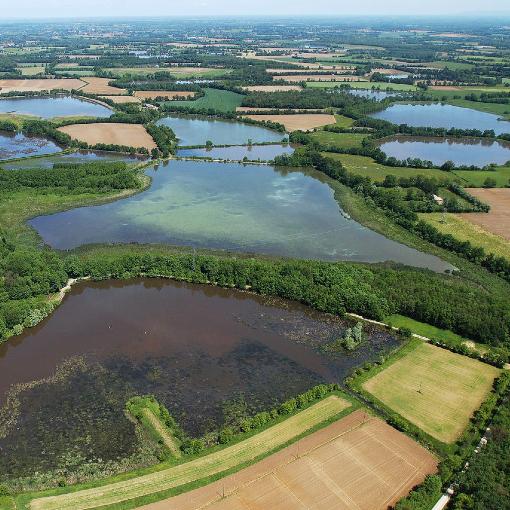 les étangs de la dombes vu d'une montgolfière
